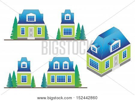 set of country house facades in a classical style with a loft and dormer windows.Facades and house isometric