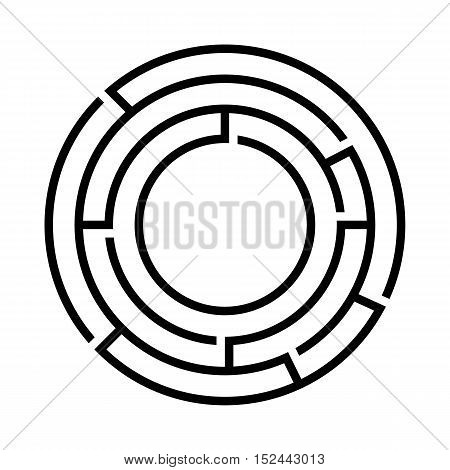 Black round maze on the white background. Vector design