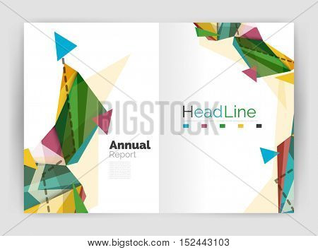 Geometric annual report business template, flyer or brochure layout