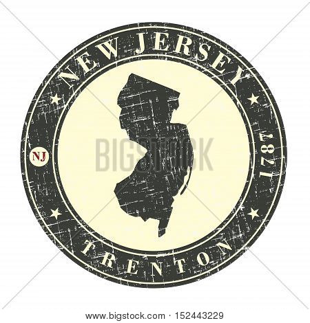 Vintage stamp with map of New Jersey. Stylized badge with the name of the State year of creation the contour maps and the names abbreviations . Vector illustration