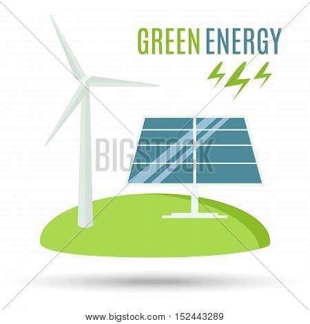Wind Turbine and Blue Solar Panel. Modern Alternative Eco Green Energy. Vector illustration