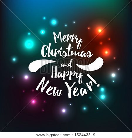 Merry Christmas vector on color background with flare. Holidays card design with inscription Merry Christmas and happy new year