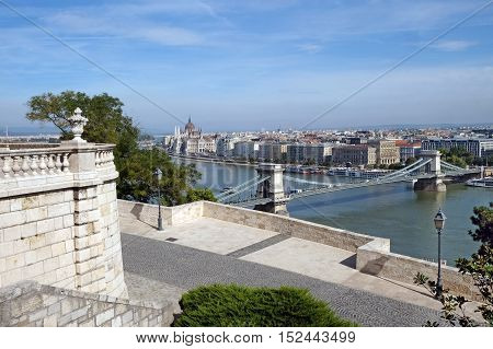 Top view from Buda castle of the Chain Bridge across the Danube and Parliament in Budapest