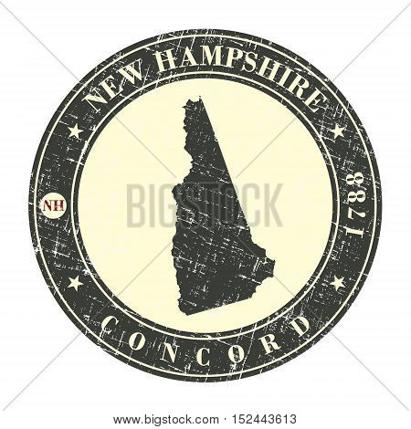 Vintage stamp with map of New Hampshire. Stylized badge with the name of the State year of creation the contour maps and the names abbreviations . Vector illustration