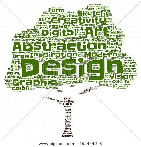 Concept or conceptual creativity art graphic design tree word cloud isolated on background