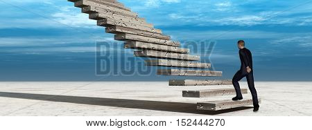 Concept conceptual 3D illustration business man walking or climbing stair on sky background banner with clouds