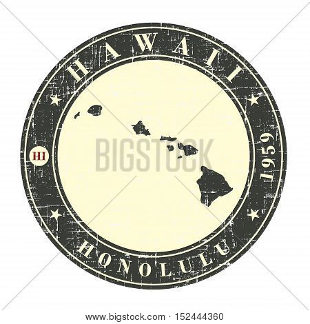 Vintage stamp with map of Hawaii. Stylized badge with the name of the State year of creation the contour maps and the names abbreviations . Vector illustration