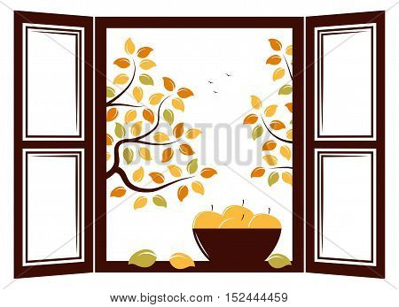 vector bowl of apples in the window and autumn trees outside the window