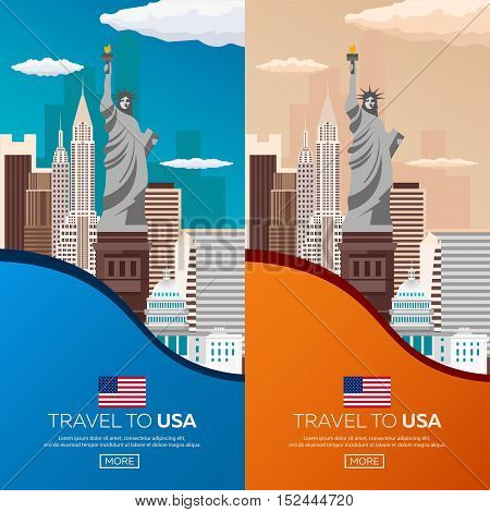 Set Travel To Usa, New York Poster Skyline. Statue Of Liberty. Vector Illustration.
