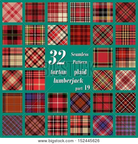 Set Tartan Seamless Pattern. Traditional Scottish Ornament. Tartan Plaid Inspired Background. Seamless Samples for Background, Suitable for Christmas and New Year. Trendy Vector  Illustration