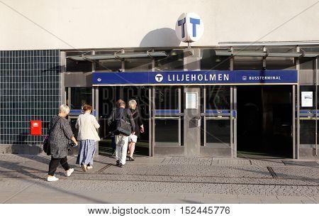 Stockholm Sweden - August 27 2015: People walks in to the Liljeholmen metro station.