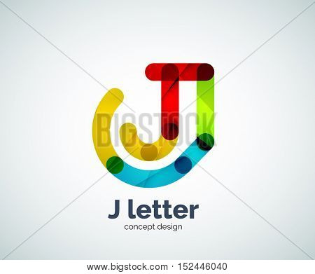 Vector j letter logo, abstract geometric logotype template, created with overlapping elements
