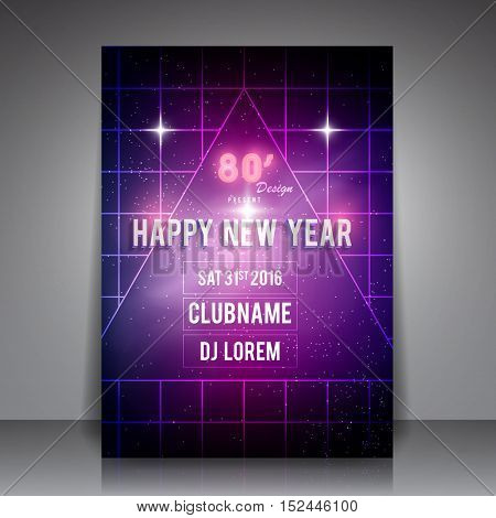 80's Style Happy New Year Flyer - Retro Party Poster Vector Background
