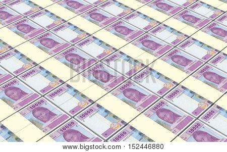 Central African CFA francs bills stacked background. 3D illustration.