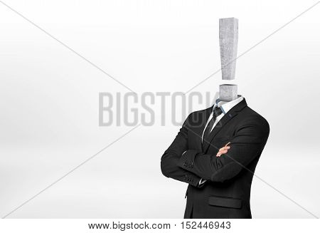 Cropped portrait of businessman with concrete exclamation mark instead of his head isolated on white background. Ideas and concepts. Brainstorming. Inspiration and intelligence.