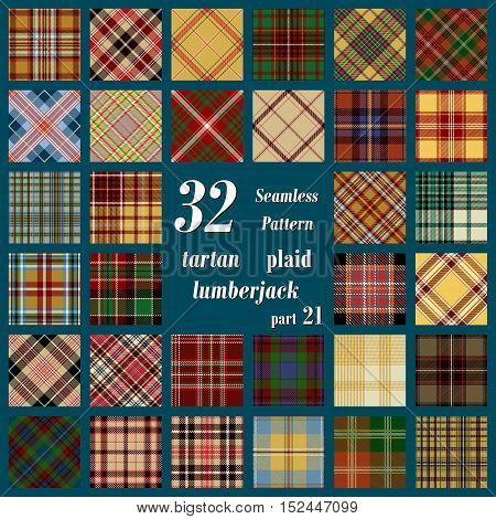 Set of thirty two tartan seamless pattern in motley colors. Lumberjack flannel shirt inspired. Seamless tartan tiles. Suitable for decorative paper fashion design home and handmade crafts.