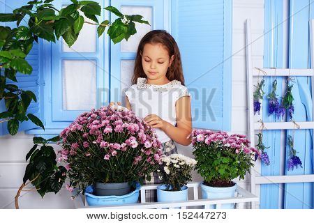beautiful curly little girl in a greenhouse. The concept of childhood and lifestyle.