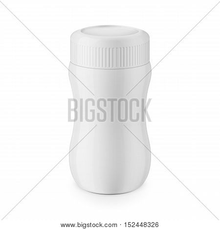 Round white glossy plastic jar with ribbed lid for dry products - hot chocolate, cocoa, instant coffee. Realistic packaging mockup template. Eye-level view. Vector illustration.