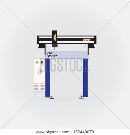 Cnc machine system on a white background
