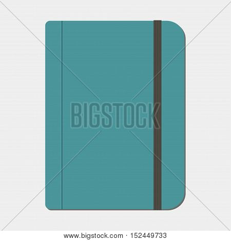 Blank copybook template with elastic band. Vector illustration
