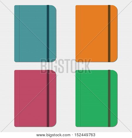 Set of notebooks in flat style. Vector illustration