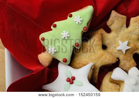Christmas Biscuit  Selection In Bowl From Above