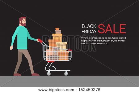 Man With Shopping Cart Black Friday Big Sale Banner Copy Space Vector Illustration