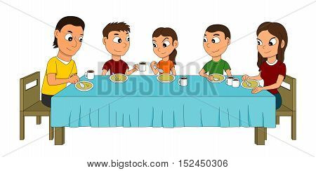 Illustration of a five members family dinning at the dinner table eating soup isolated on white background