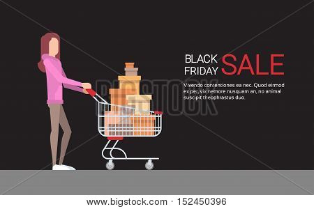 Woman With Shopping Cart Black Friday Big Sale Banner Copy Space Vector Illustration