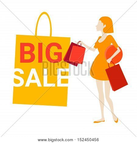 Woman With Shopping Bag Black Friday Big Sale Banner Vector Illustration