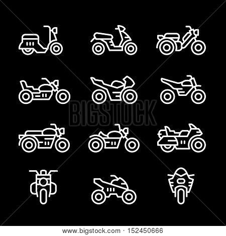 Set line icons of motorcycles isolated on black. Vector illustration