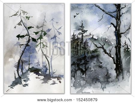 Set of two forest landscapes. Watercolor painting.