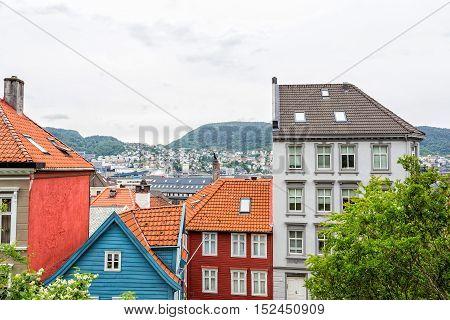 Old part of norwegian city Bergen - Bryggen