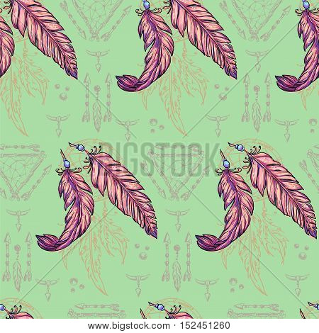 Boho chic - vector seamless pattern handmade. Tribal Indian ethnic background texture and ornament. Hippie, Gypsy and tribal sketched background with arrows and Dreamcatcher. .
