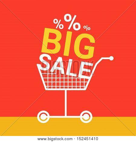 Shopping Cart Big Sale Banner Vector Illustration