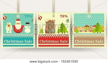 Christmas Sale Tags with Xmas Symbols - Santa Claus Gifts Snowman. Winter Sell-out Labels Collection. Vector Illustration.