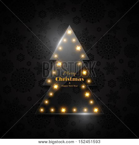 Transparent glass Christmas tree with glowing light black background snowflake pattern. Merry Christmas and Happy New Year text. Vector illustration