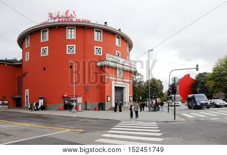 Trondheim, Norway - September 26, 2015: The building of The Student Society (Studentersamfundet) an organization for students in Trondheim at Elgesetergate 1 in Trondheim. The building has banners on the roof for the cultural festival UKA.