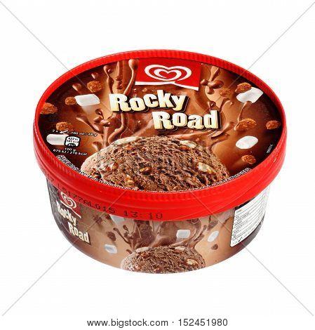 Stockholm, Sweden - October 23, 2015: One box with the ice cream Rocky Road sold with Unilever Heartbrand GB Glace on the Swedish market isolated on white background.