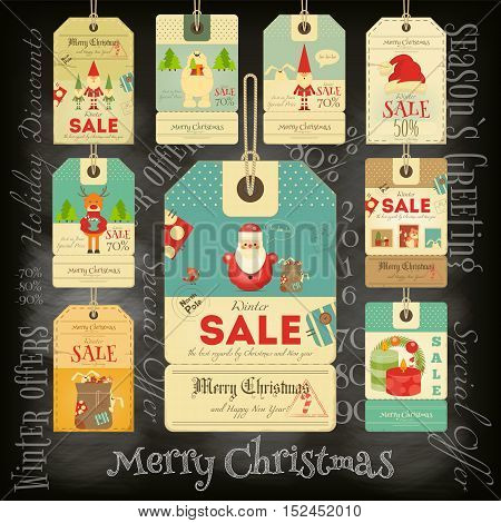 Christmas Sale Tags in Vintage Style on Blackboard. Chalk Text. Winter Sell-out Labels Collection. Vector Illustration.