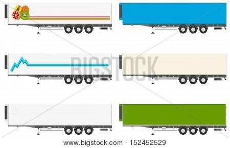 Set of isolated refrigerators semi-trailers with a logo and a picture of a white background. Vector illustration