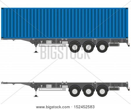 Isolated semitrailer container with a container on a white background. Vector illustration