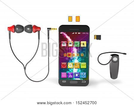 Accessories for modern smartphone on white background (3d illustration).