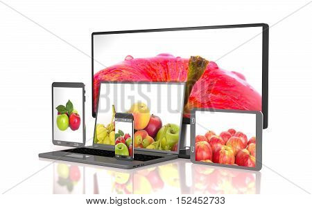 Set of apples on the screen of computer gadgets on white background.