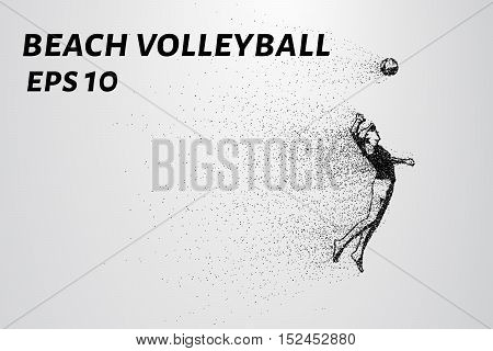 Beach volleyball of the particles. Volleyball player jumps higher. Volleyball consists of small circles.