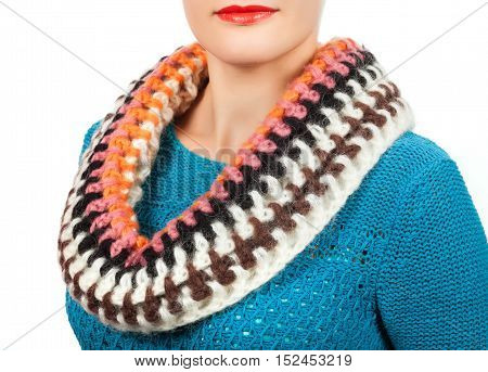 Woolen Scarf. Beige Woolen Scarf Around Her Neck Isolated On White Background.