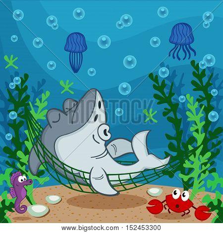 shark sleeping on the seabed - vector illustration, eps