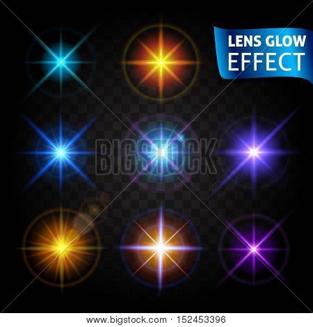 Glowing light glare bright realistic lighting effects. Use design glow for the New Year Christmas and holidays. Vector illustration.