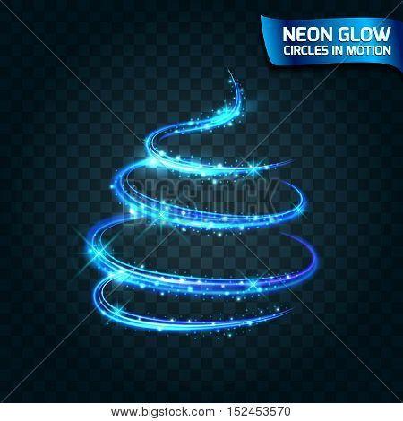 Neon Glow circles in motion blurred edges bright glow glare glow magic tree Christmas. Abstract glowing rings slow shutter speed of the effect. Abstract lights in a circular motion. Vector illustration.