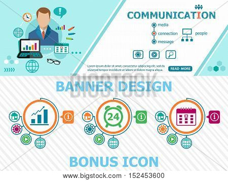 Communication Concepts And Abstract Cover Header Background For Website Design.
